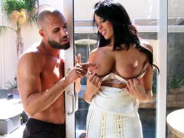 Long-haired brunette Anissa Kate has her pussy and tits teased by bearded guy